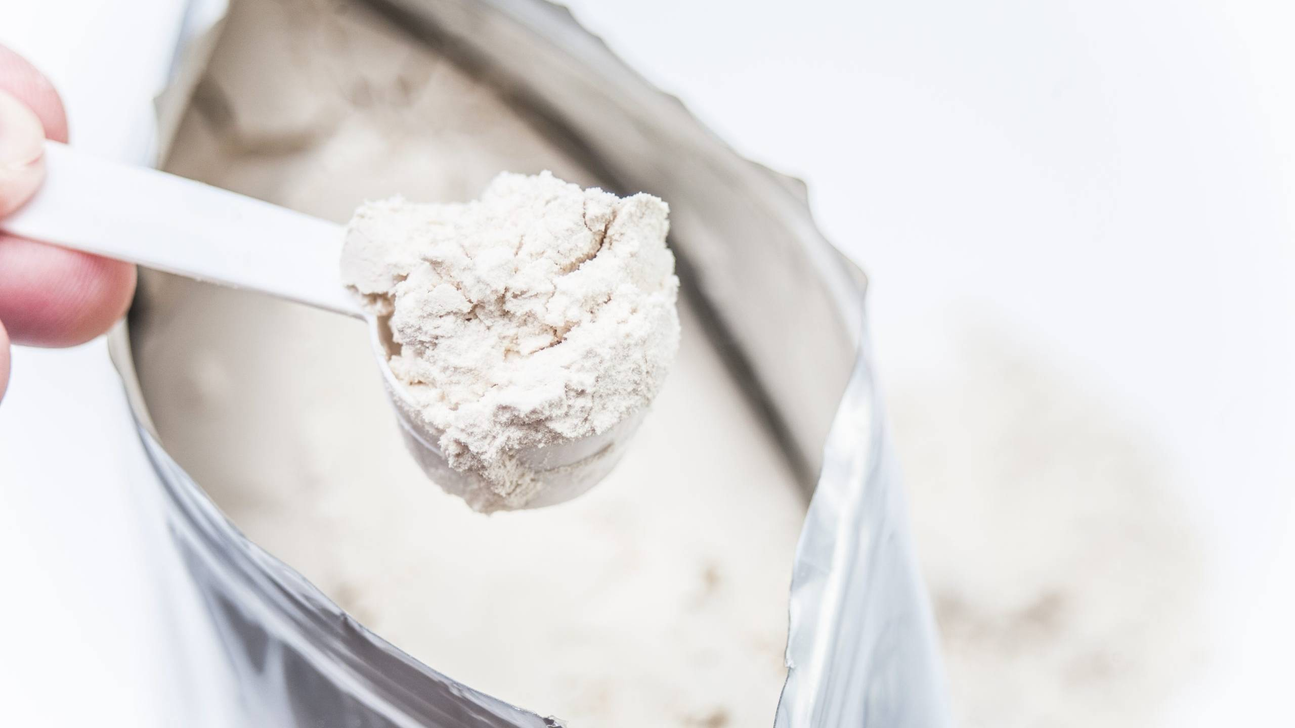A scoop of white protein powder on a white background